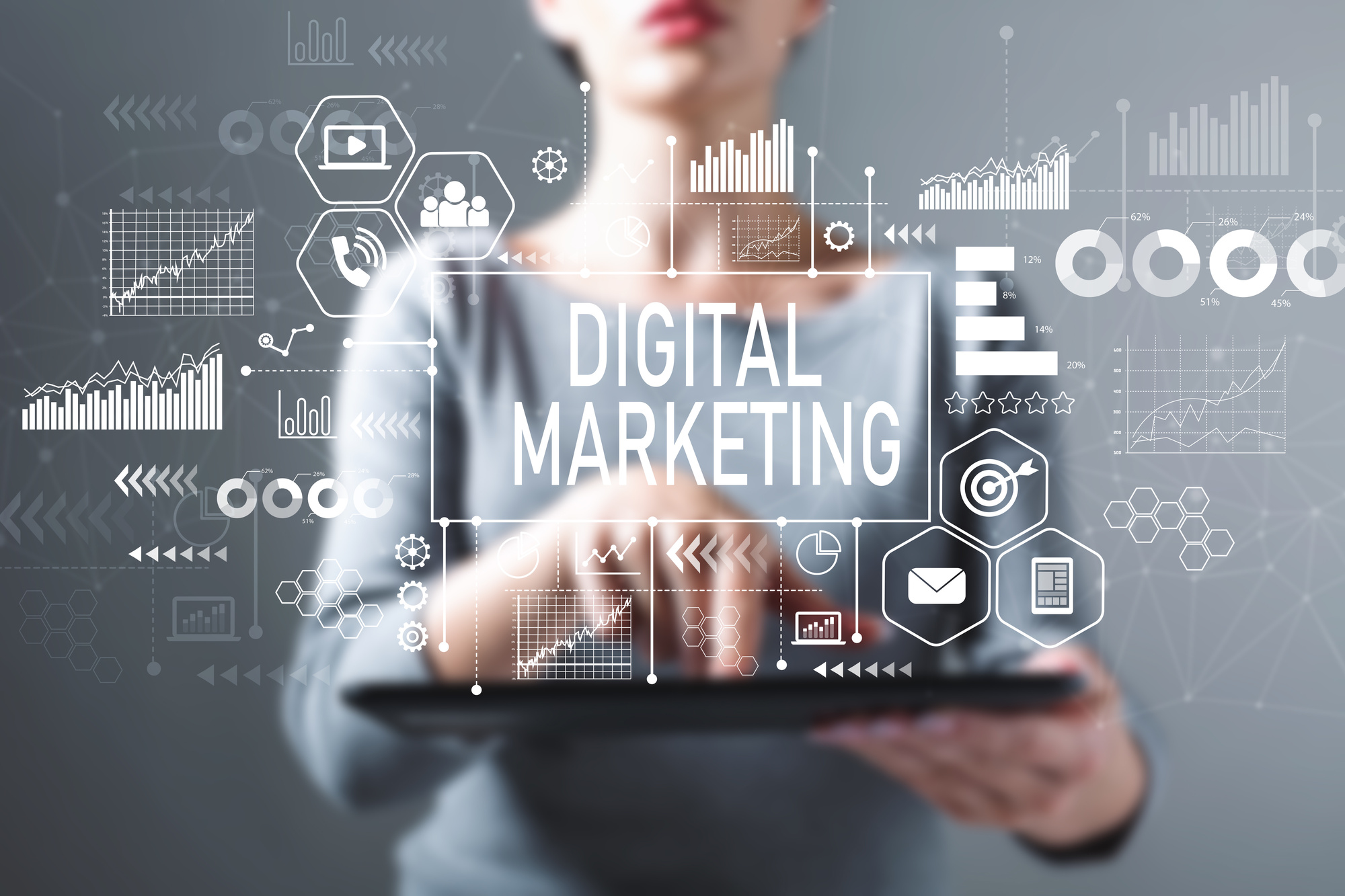 digital marketing text and graphics